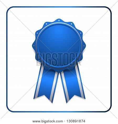Ribbon award icon. Blue badge isolated on white background. Medal design element. Label emblem. Blank certificate, winner, decoration. Sumbol first, victory success, the best, win. Vector illustration