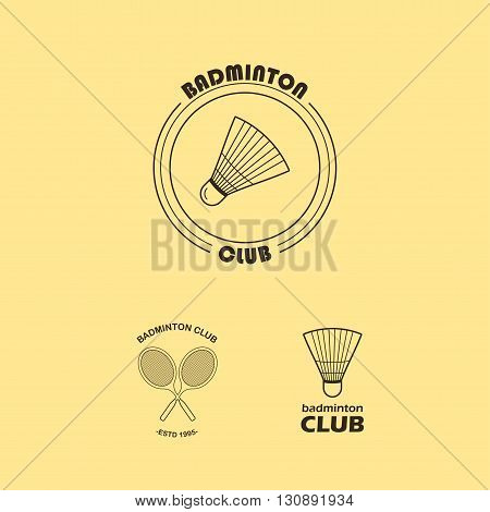 Seth logos for badminton club. Rackets and shuttlecock. Retro style.