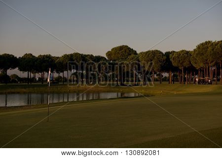 golf course landscape at beautiful sunset