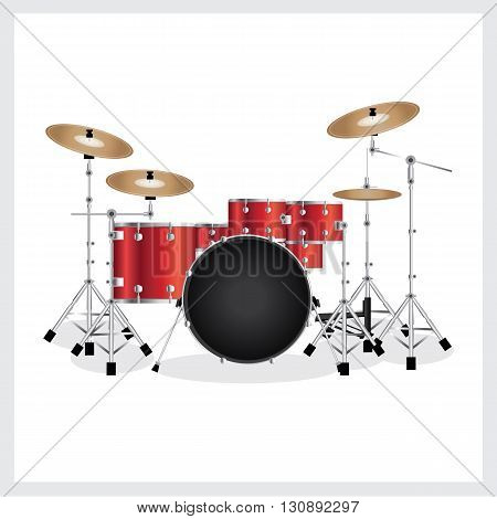 Vector Illustration Drum Set Red on White Background