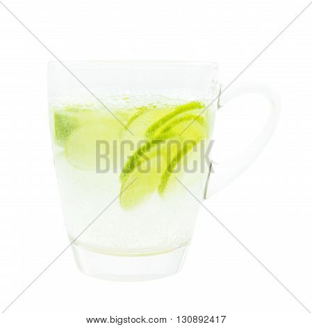 Green Lime Sliced With Tonic Water On Glass