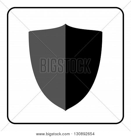 Shield icon. Flat design style. Black and gray graphic element isolated on white background. Emblem blank for security protection safety. Banner defence privacy decoration badge Vector illustration