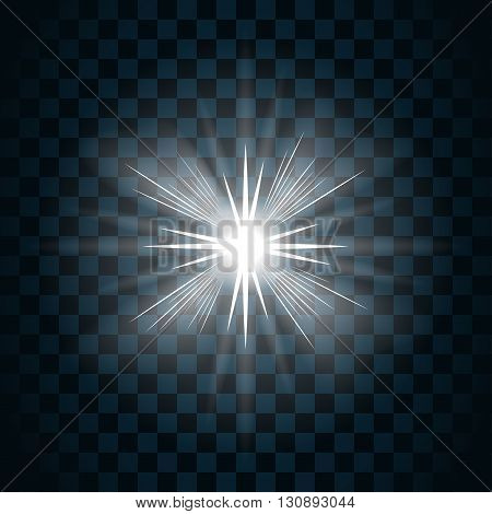 Shine star with glitter and sparkle icon. Effect twinkle glare scintillation element sign graphic light. Transparent bright design. Dark background. White template glow shine. Vector illustration.