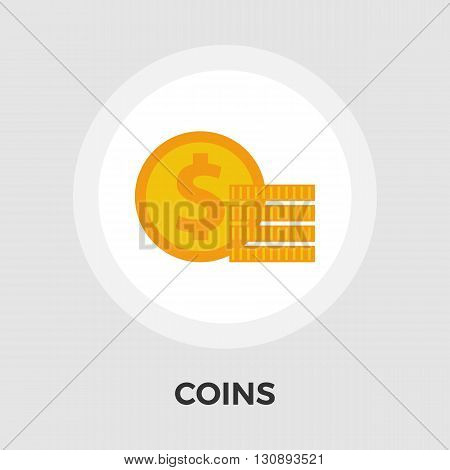 Dollar coin icon vector. Flat icon isolated on the white background. Editable EPS file. Vector illustration.