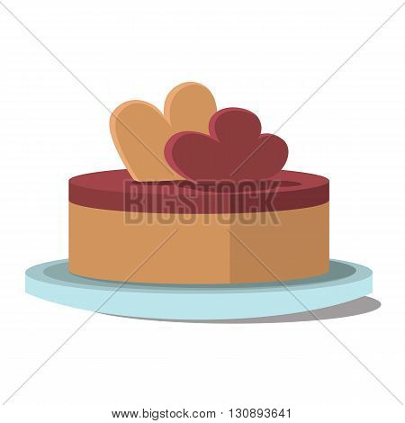 Vector illustration of a round cake. Small cake on a plate isolated on a white background. Template for design on topic of food cafe and restaurants, corporate identity, icon and print publications