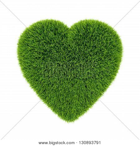 Green grass 3d heart, isolated on white