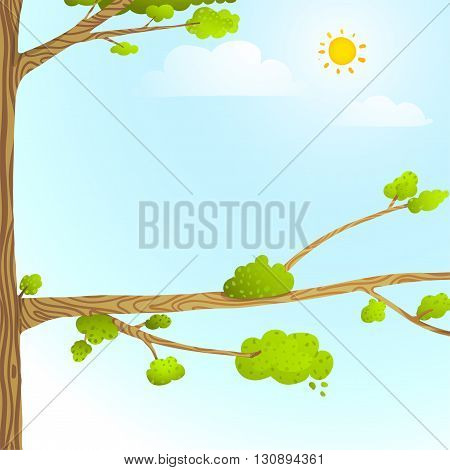 Empty wild nature nobody background blue and green with leaves and tree branch for children. Cartoon illustration vector.