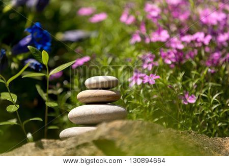 Pile Of Balancing Pebble Stones Outdoor