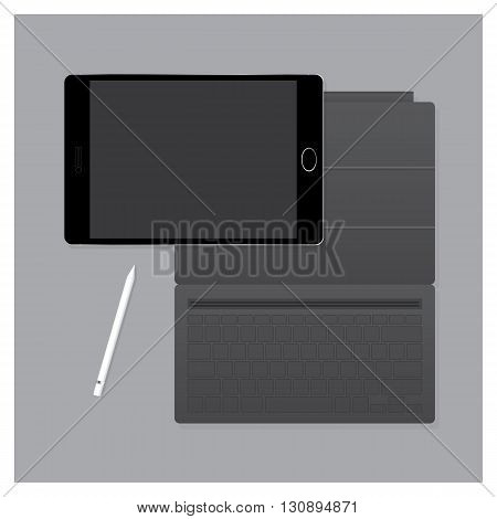 Black Tablet Pro with Keyboard Case and Pen Vector Illustration