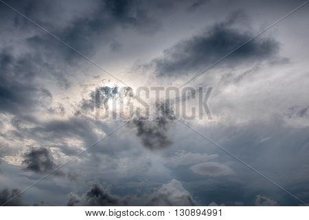rain cloud before thunder storm background sun hidden in rain cloud landscape
