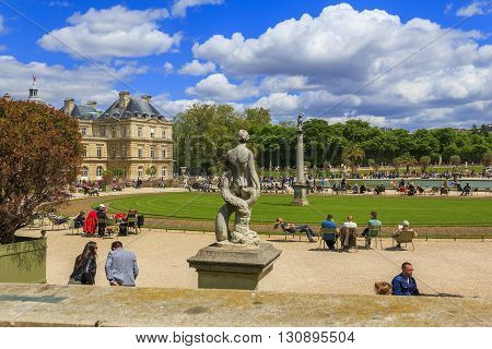 Paris, France - May 11: This is Jardin du Luxembourg palace and park ensemble in the centre of city famous landmark May 11, 2013 in Paris, France.