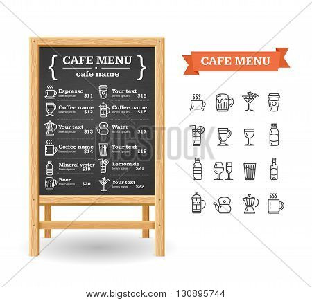Cafe Menu Realistic Wooden Black Board. Vector illustration