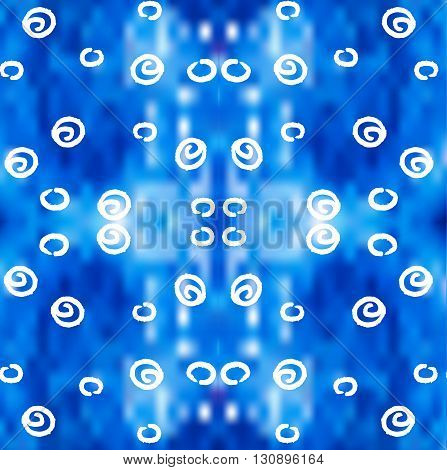 White curls on blue blurred background vector pattern. Vector seamless