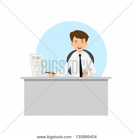 Businessman manager consultant at work. Offer to sign a contract. Flat Design Vector illustration.