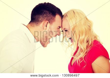 Young couple having an argue