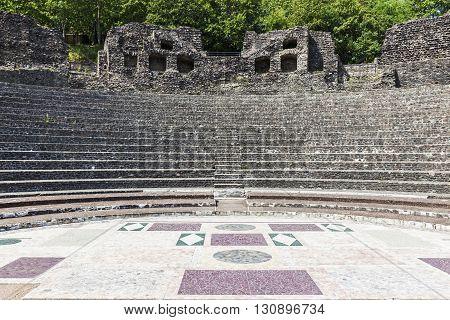 Ruins of Roman Theatre in Lyon. Lyon Rhone-Alpes France.