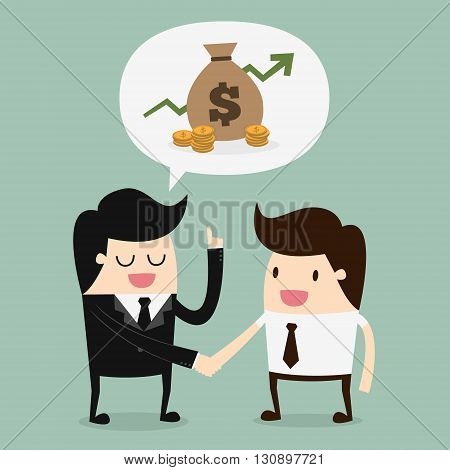 Businessmen Discussion. business shaking hand. Business concept cartoon illustration