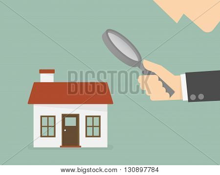 Find real estate searching for home. Business concept cartoon illustration.