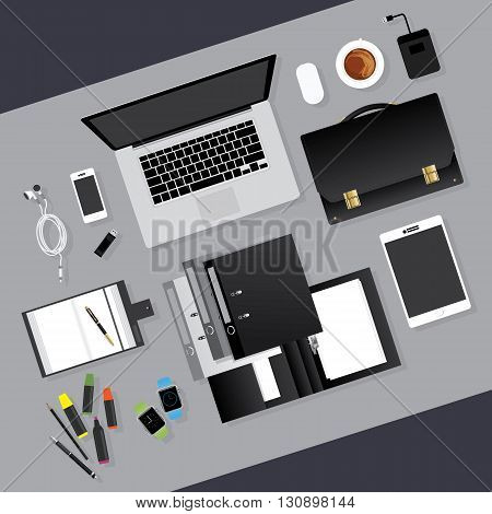 Flat Design Business Tool Workplace concept Vector Illustration