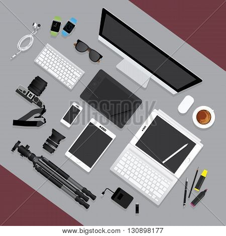 Flat Design Graphic Designer Tool Workplace concept