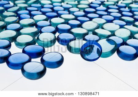 small blue glass hemispheres for a geometric composition and interesting patterns
