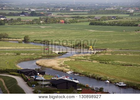 RIBE DENMARK - MAY 18 2016: view from Ribe Cathedral Tower - Ribe River and marsh landscape May 18. 2016 Ribe Denmark.