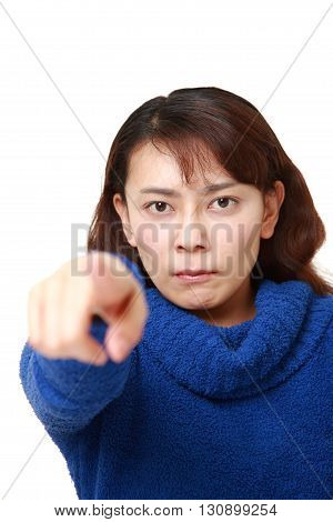 portrait of Asian woman scolding on white background