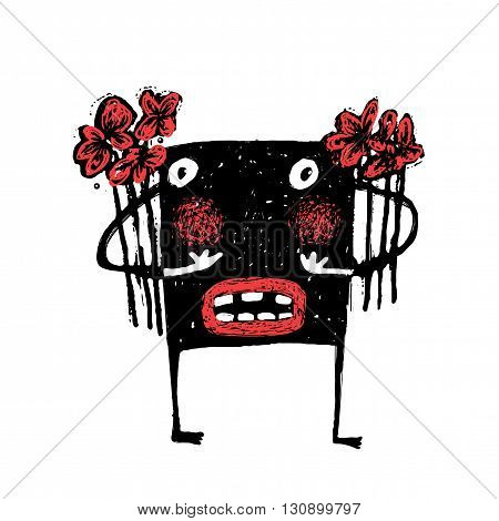Cartoon ugly character congratulation grunge hand drawn naive style. Cute comic bizarre monster, vector drawing illustration cartoon.