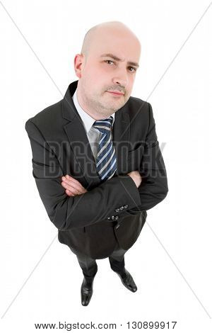 businessman thinking full length isolated on white