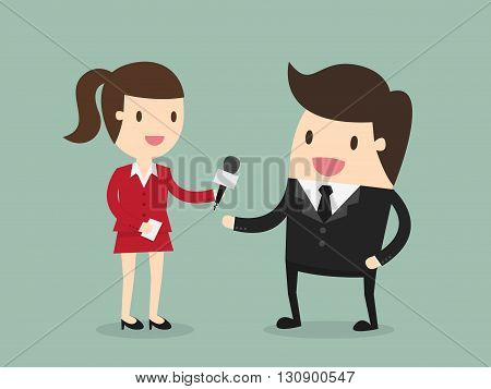 Female Journalist Interviewing Businessman. Business Concept Cartoon Illustration.