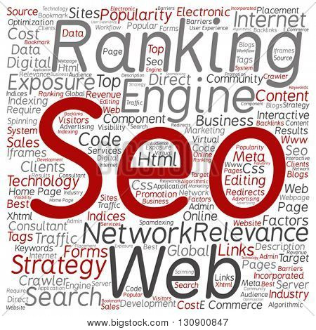 Vector concept or conceptual search engine optimization, seo abstract square word cloud isolated on background