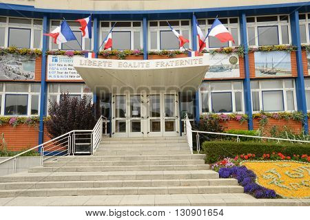 Saint Valery en Caux France - july 17 2015 :the city hall