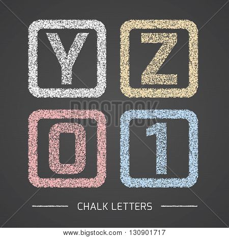 Chalk Alphabet in square frames collection. Letters Y, Z, 0, 1