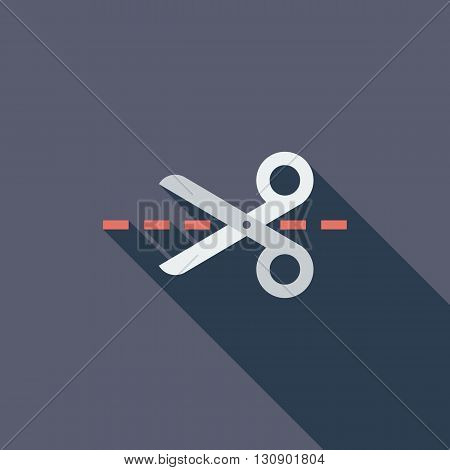 Scissors icon. Flat vector related icon with long shadow for web and mobile applications. It can be used as - logo, pictogram, icon, infographic element. Vector Illustration.