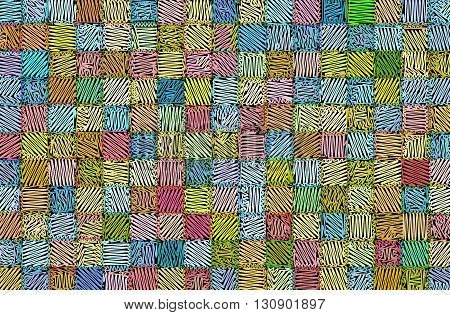 mixed tiled surface drawn hatched in multiple colors