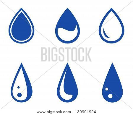 set of six blue isolated droplet silhouette