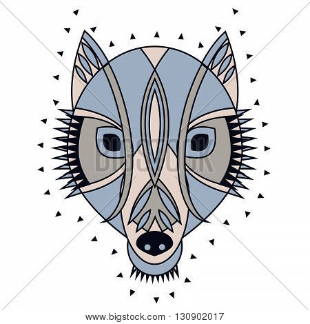Ornate tribal wolf head. Vector illustration of mascot character for tattoo print with primitive tribal decoration wolf mask