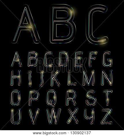 Neon light alphabet with shine on black background