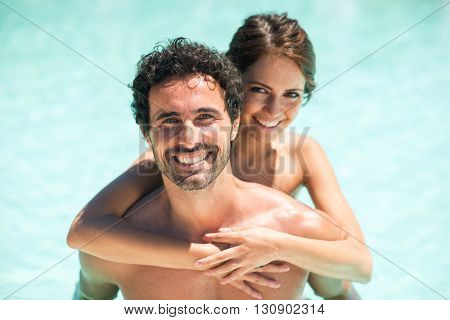 Couple having fun in the water