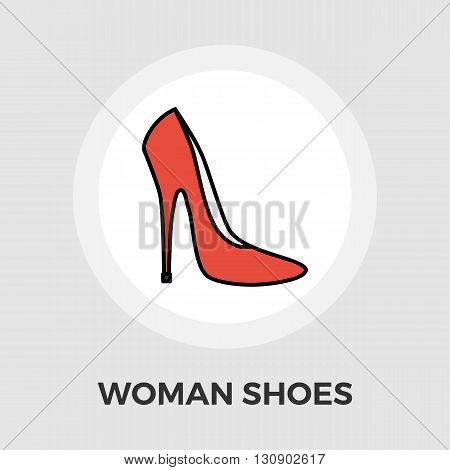 Woman shoes icon vector. Flat icon isolated on the white background. Editable EPS file. Vector illustration.