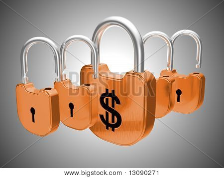 Padlocks: Us Dollar Currency Safety