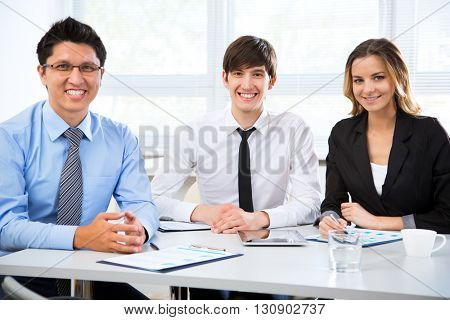 Group of business people with businessman leader