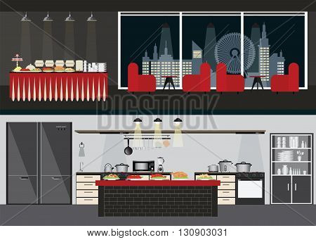 Set of Restaurant interiors dining room and table of buffet on night city view on background and Kitchen interiorvector illustration in flat design.