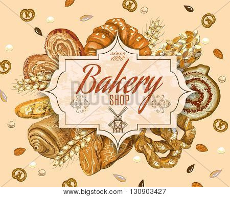Vintage style bakery production banner with windmill. Can be used as logo design. Vector illustration.