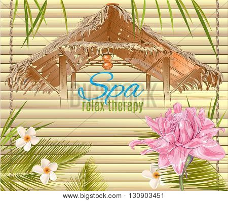 Spa treatment banner with lotus and bungalow roof. Design for cosmetics, store, spa and beauty salon, organic health care products. Can be used as logo design. Vector illustration.