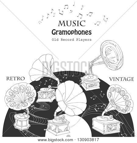 Background with  gramophones.Hand drawn sketches old record player. Vector music illustration