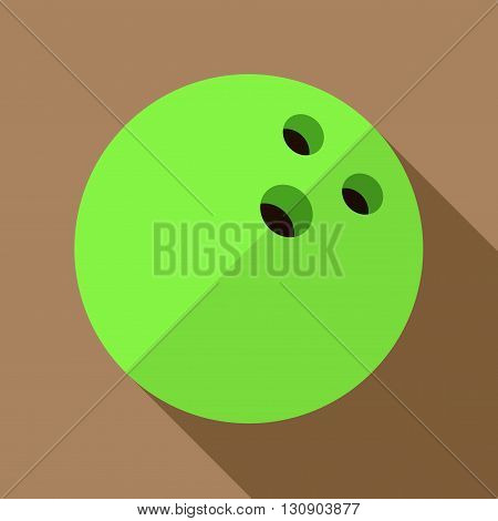 Vector illustration. Icon of toy green bowling ball in flat design with shadow effect