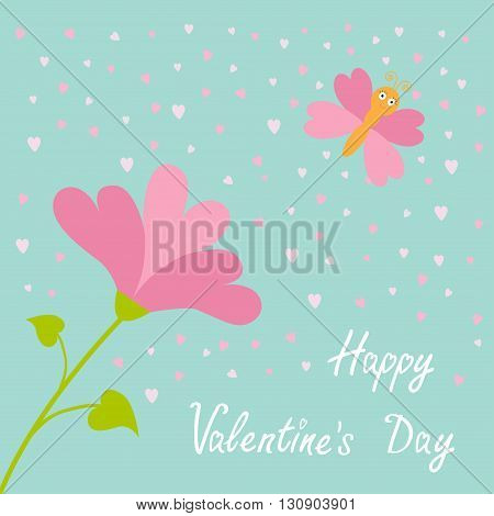 Vector love card. Heart flower Flying butterfly. Happy Valentines Day card. Flat design. Blue sky background. Vector illustration