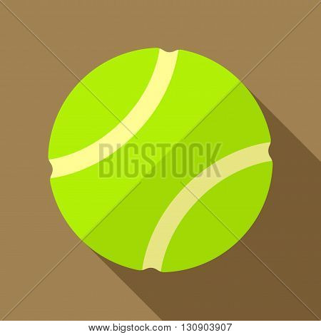 Vector illustration. Icon of toy yellow tennis ball in flat design with shadow effect