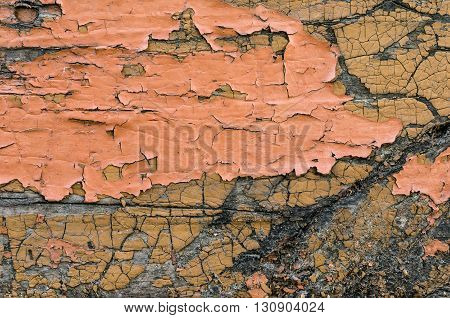 Old cracked paint on wooden surface. Vintage wood background.